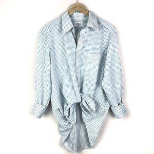 VTG Blue Printed Button-Down Blouse